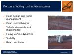 factors affecting road safety outcomes