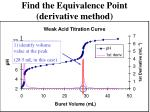 find the equivalence point derivative method