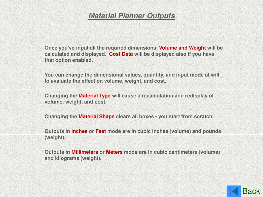Material Planner Outputs