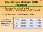 internal rate of return irr procedure46
