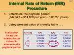 internal rate of return irr procedure47