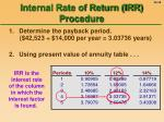 internal rate of return irr procedure48