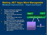 making net apps more manageable metabase improvements import and export