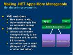 making net apps more manageable metabase improvements