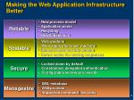 making the web application infrastructure better