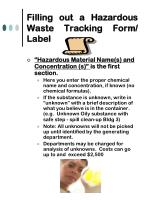 filling out a hazardous waste tracking form label