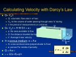 calculating velocity with darcy s law