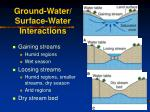 ground water surface water interactions