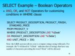 select example boolean operators
