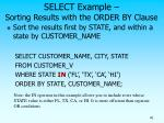 select example sorting results with the order by clause
