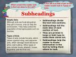 subheadings