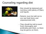 counseling regarding diet