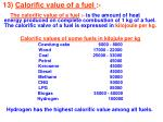 13 calorific value of a fuel