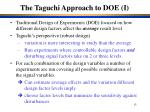the taguchi approach to doe i