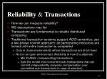 reliability transactions