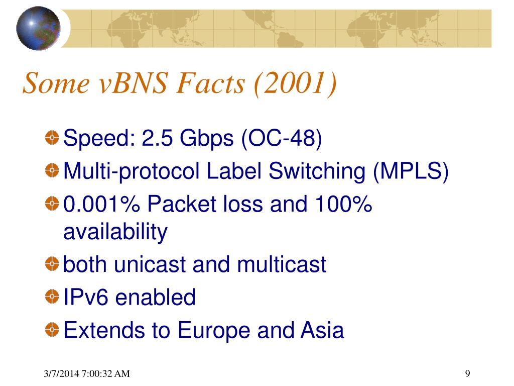 Some vBNS Facts (2001)