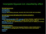 incomplete spyware list classified by effect