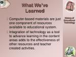 what we ve learned49