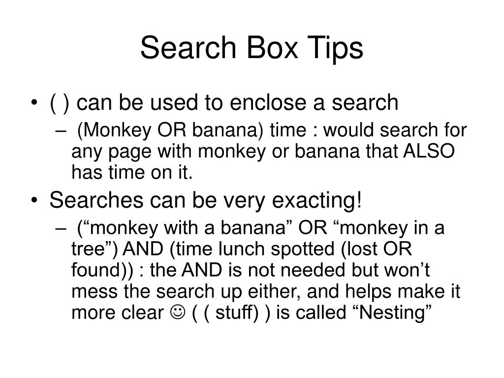 Search Box Tips