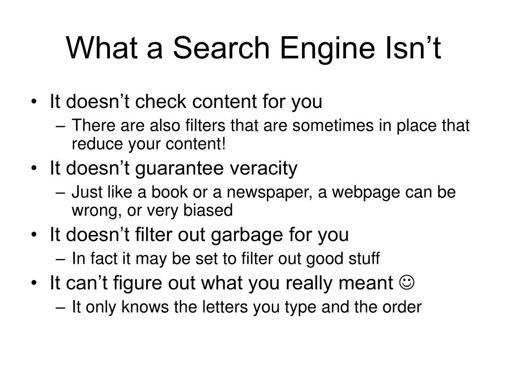 What a Search Engine Isn't
