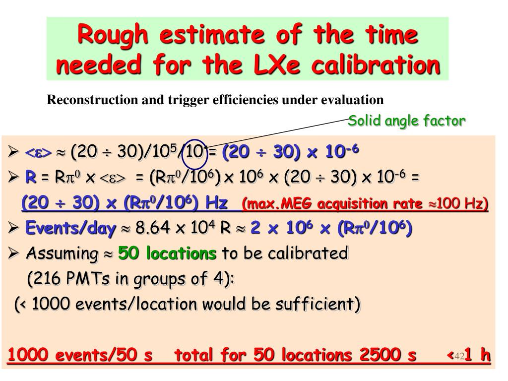 Rough estimate of the time needed for the LXe calibration