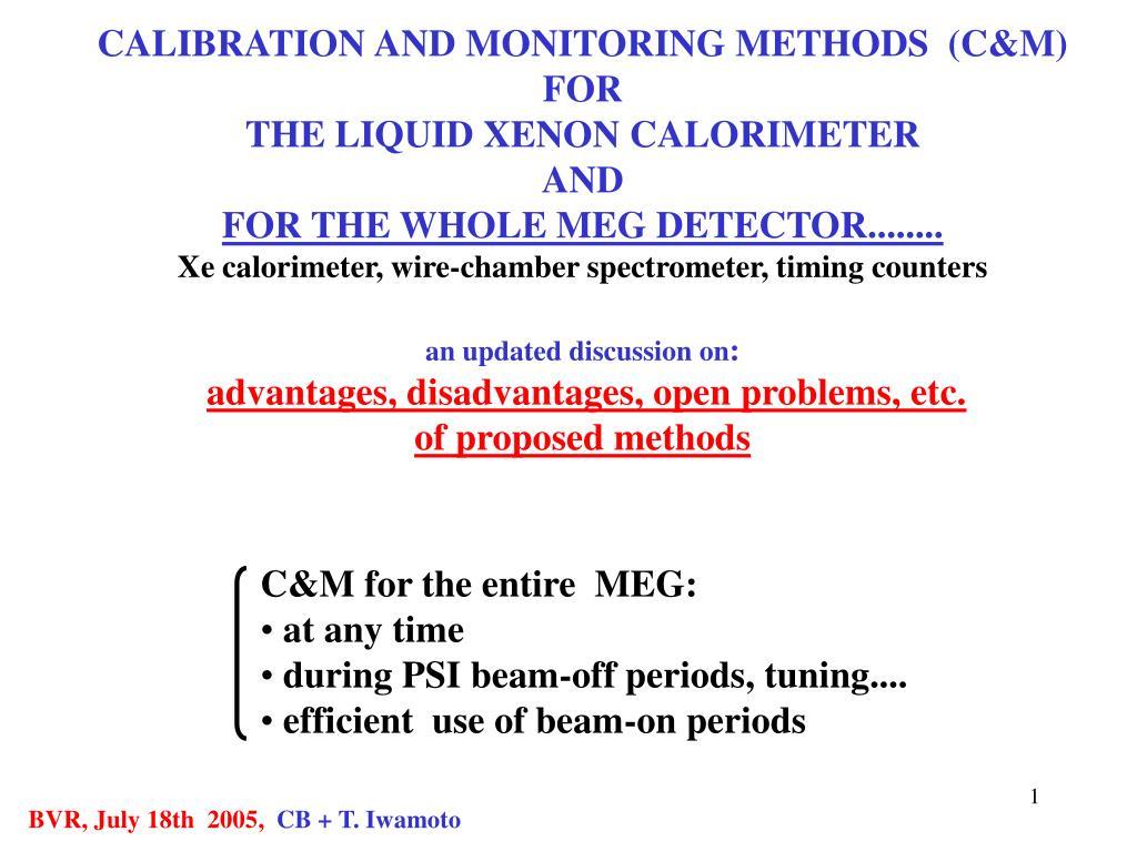 CALIBRATION AND MONITORING METHODS  (C&M)