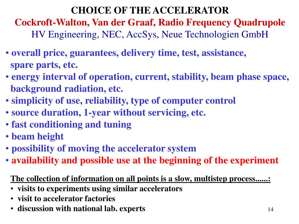 CHOICE OF THE ACCELERATOR