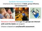 symbolic interactionism review emphasizes the importance of labels group influence and consequences