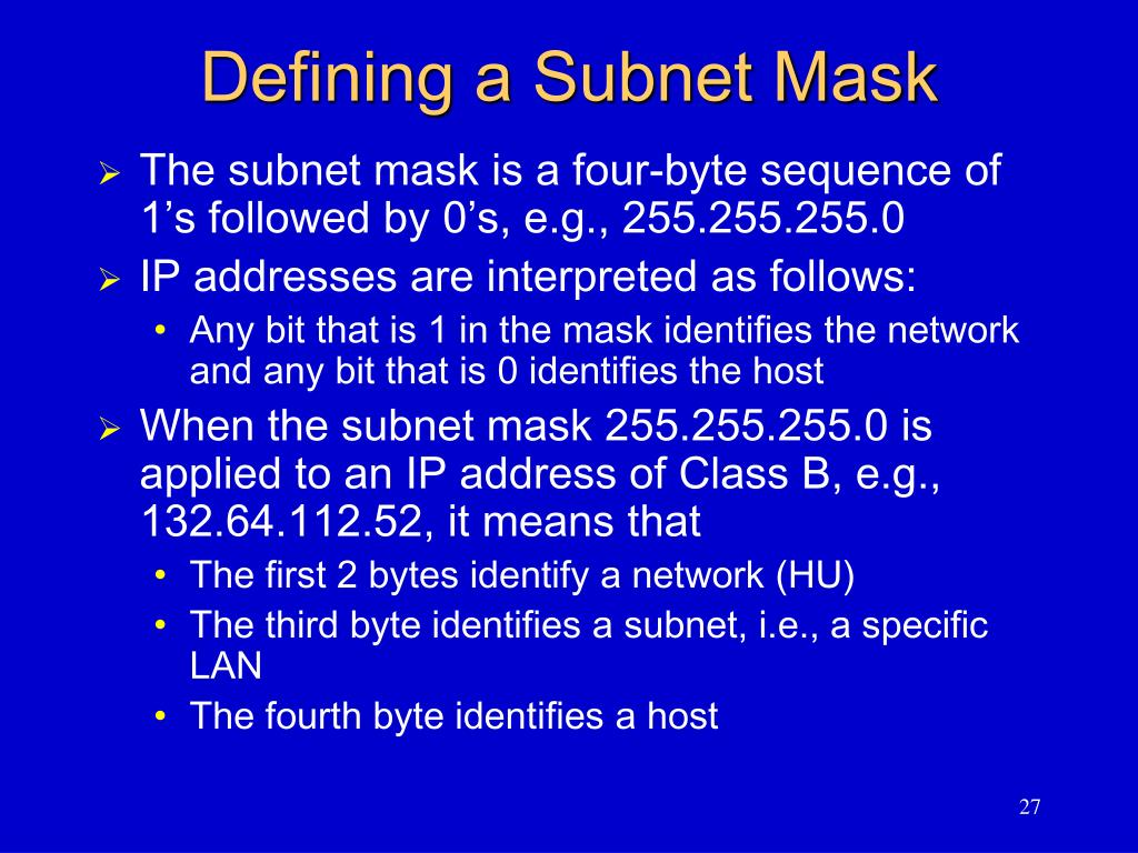 Defining a Subnet Mask