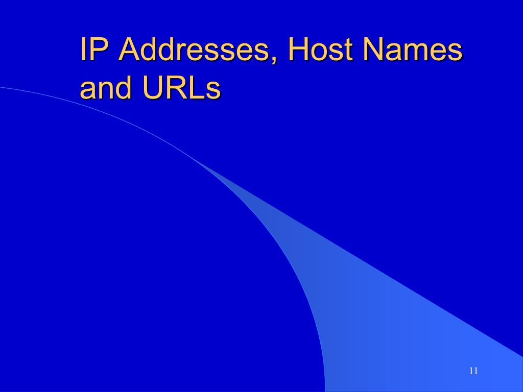 IP Addresses, Host Names and URLs
