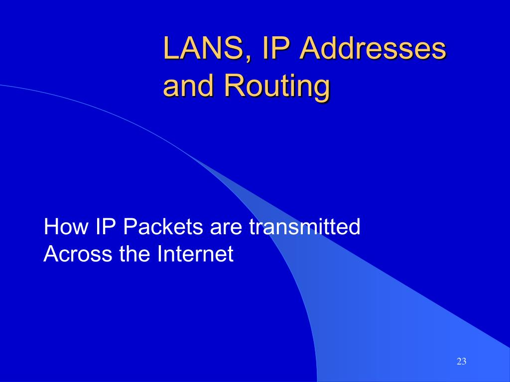 LANS, IP Addresses and Routing