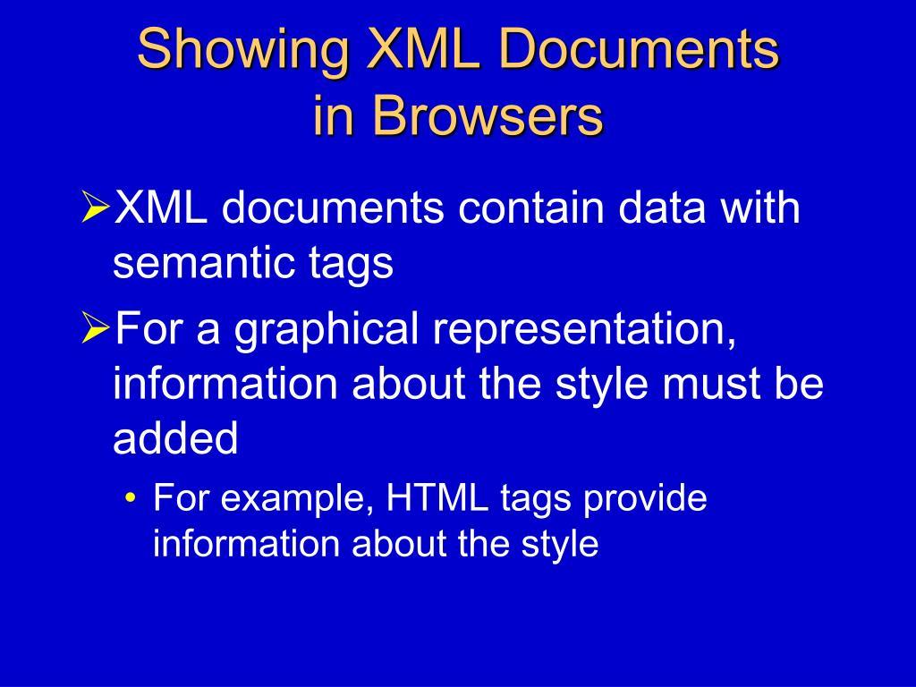 Showing XML Documents