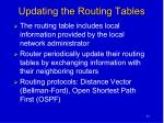 updating the routing tables
