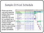 sample critical schedule