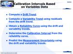 calibration intervals based on variables data