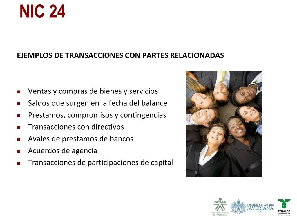 EJEMPLOS DE TRANSACCIONES CON PARTES RELACIONADAS