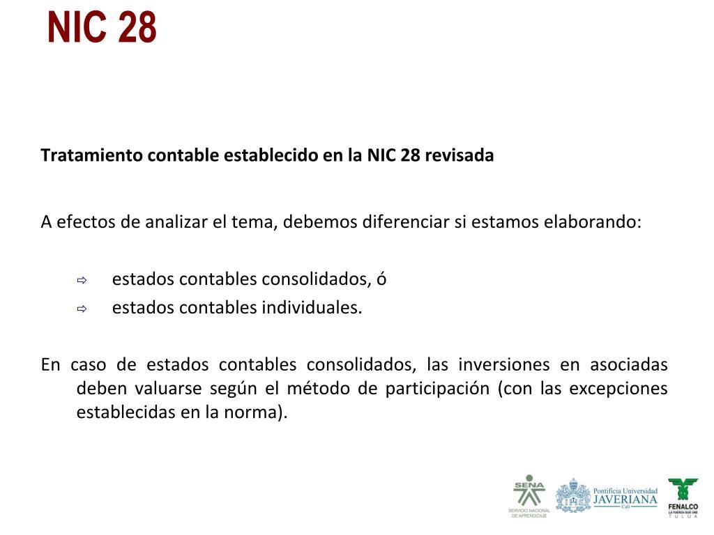 Tratamiento contable establecido en la NIC 28 revisada