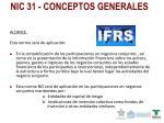 nic 31 conceptos generales
