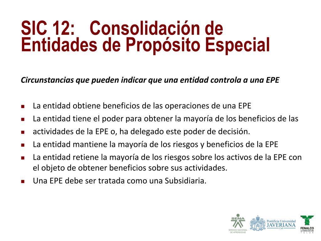 Circunstancias que pueden indicar que una entidad controla a una EPE