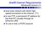 ariel internet requirements windows version 2 x