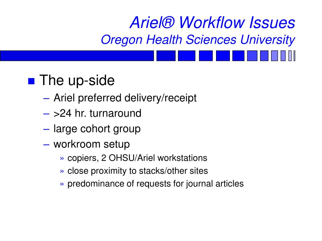 Ariel® Workflow Issues