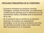 patologia psiquiatrica en el puerperio