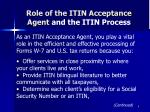 role of the itin acceptance agent and the itin process