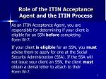 role of the itin acceptance agent and the itin process12