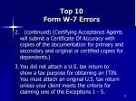 top 10 form w 7 errors66