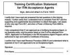 training certification statement for itin acceptance agents