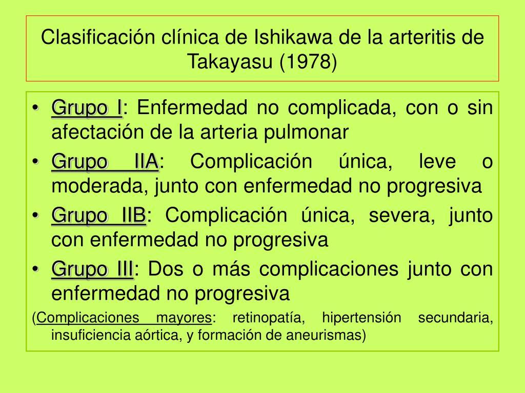 Clasificación clínica de Ishikawa de la arteritis de Takayasu (1978)