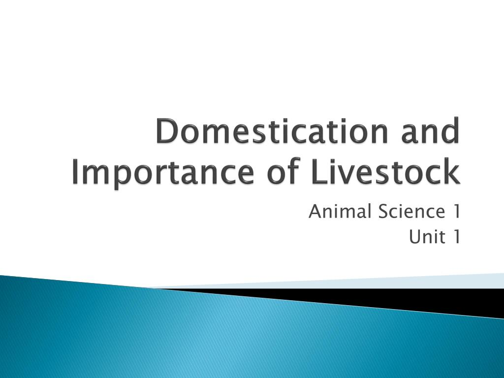 domestication and importance of livestock l.