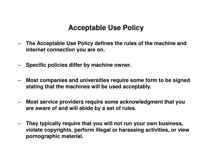 acceptable use policy n.
