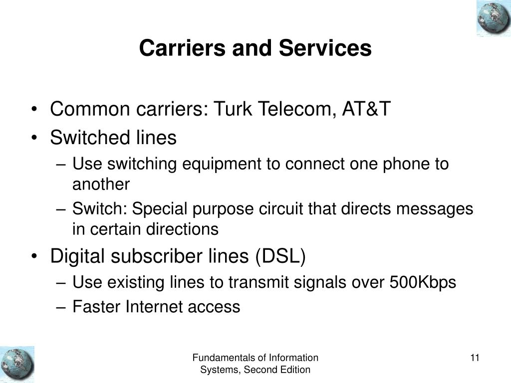 Carriers and Services